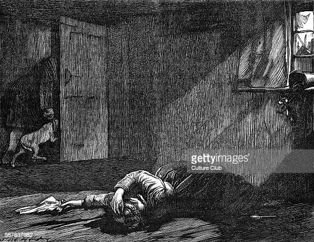 Charles Dickenss The Adventures of Oliver Twist first published 1838 Caption He moved backward towards the door dragging the dog with him Description...