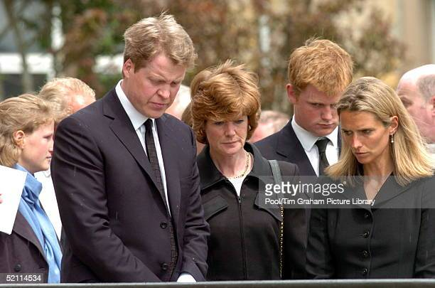 Charles Earl Spencer Standing With His Sister Lady Sarah Mccorquodaleat The Funeral Of Their Mother Frances Shandkydd At St Columba's Cathedral With...