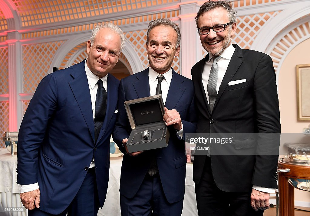 Charles Finch, Nick Broomfield and Laurent Vinay attend as Charles Finch hosts the 8th Annual Filmmakers Dinner with Jaeger-LeCoultre at Hotel du Cap-Eden-Roc on May 13, 2016 in Cap d'Antibes, France.