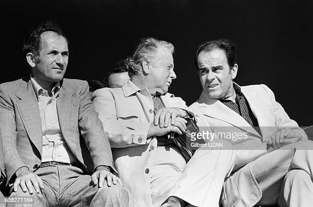 Charles Fiterman Georges Séguy et Georges Marchais lors de la Fête de l'Humanité à La Courneuve France le 9 septembre 1978