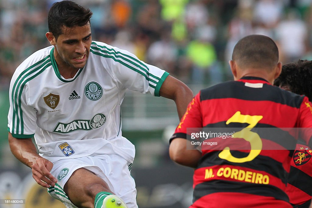 Charles, from Palmeiras, and Marcelo Cordeiro, from Sport, during the match between Palmeiras and Sport for the Brazilian Series B 2013 at Pacaembu stadium on September 21, 2013 in Sao Paulo, Brazil.