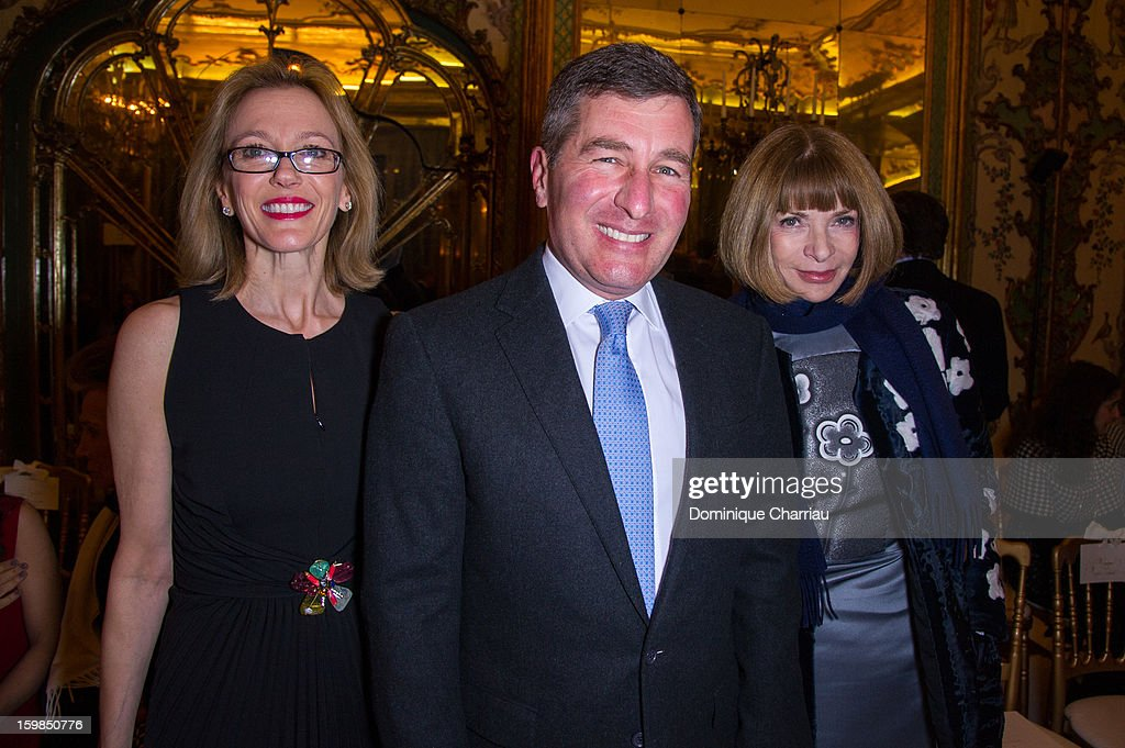 Charles H Rivkin (C), his wife Susan Tolson (L) and Anna Wintour attend the Giambattista Valli Spring/Summer 2013 Haute-Couture show as part of Paris Fashion Week at on January 21, 2013 in Paris, France.