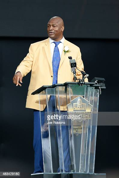 Charles Haley is honored during the NFL Hall of Fame induction ceremony at Tom Benson Hall of Fame Stadium on August 8 2015 in Canton Ohio