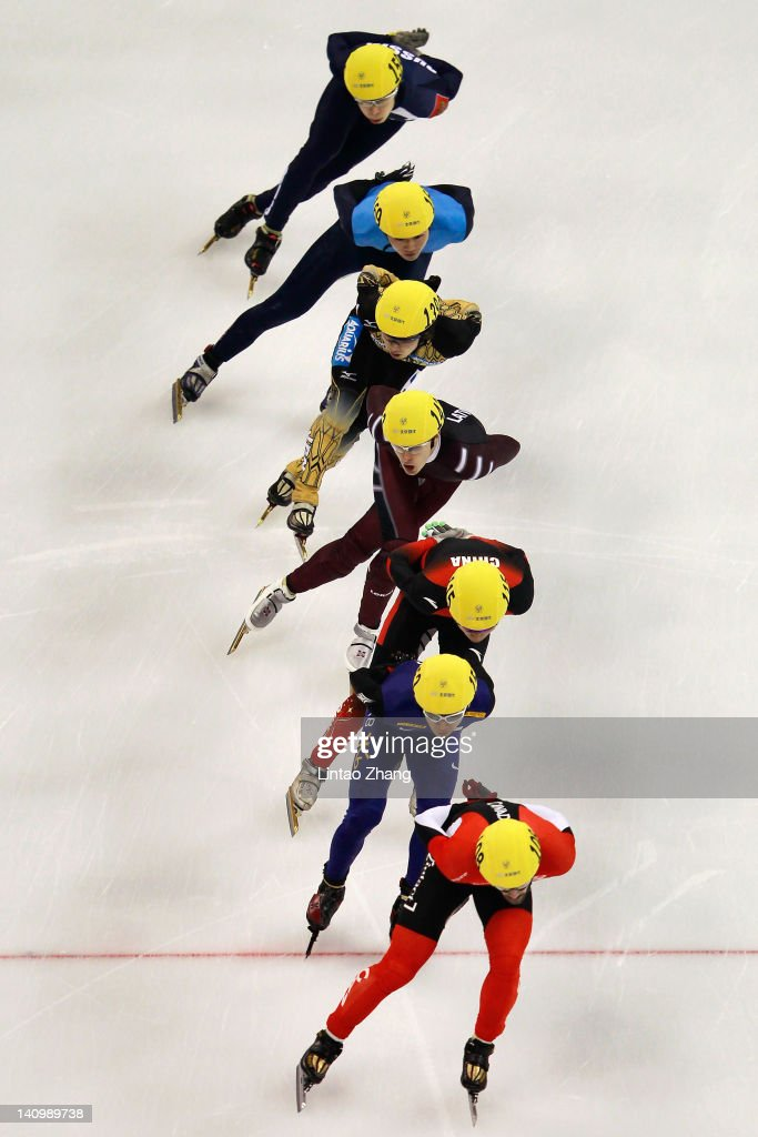 <a gi-track='captionPersonalityLinkClicked' href=/galleries/search?phrase=Charles+Hamelin&family=editorial&specificpeople=820316 ng-click='$event.stopPropagation()'>Charles Hamelin</a> of Canada, Kwak Yoon-Gy of Korea, Dequan Chen of China, Jekabs Saulitis of Latvia, Daisuke Uemura of Japan, <a gi-track='captionPersonalityLinkClicked' href=/galleries/search?phrase=Simon+Cho&family=editorial&specificpeople=4873330 ng-click='$event.stopPropagation()'>Simon Cho</a> of USA and Semen Elistratov of Russia compete in the Men's 1500m Preliminaries during day one of the ISU World Short Track Speed Skating Championships at the Oriental Sports Center on March 9, 2012 in Shanghai, China.