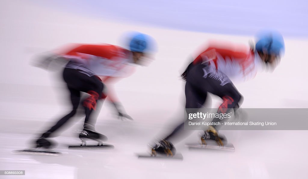 <a gi-track='captionPersonalityLinkClicked' href=/galleries/search?phrase=Charles+Hamelin&family=editorial&specificpeople=820316 ng-click='$event.stopPropagation()'>Charles Hamelin</a> of Canada leads the Men 500 M Semifinal during day two of the ISU World Cup Short Track Speed Skating at EnergieVerbund Arena on February 7, 2016 in Dresden, Germany.