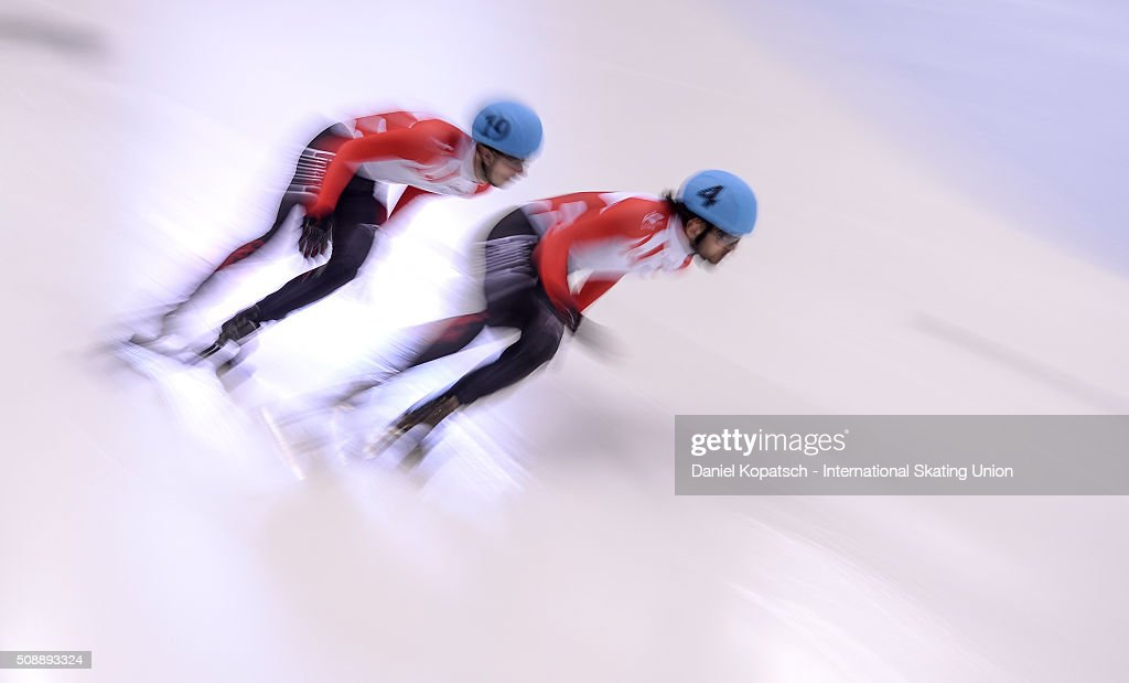 Charles Hamelin of Canada leads the Men 500 M Semifinal during day two of the ISU World Cup Short Track Speed Skating at EnergieVerbund Arena on February 7, 2016 in Dresden, Germany.