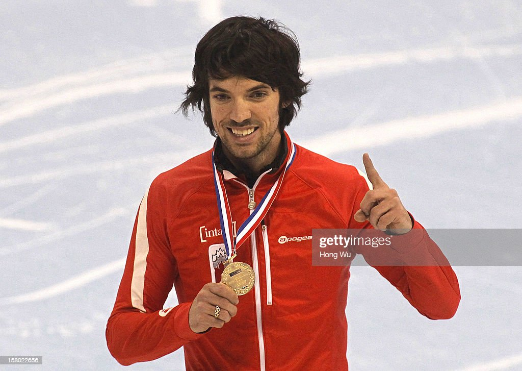 Charles Hamelin of Canada poses with his winner's medal after the Men's 500m Final during the day two of the ISU World Cup Short Track at the Oriental Sports Center on December 9, 2012 in Shanghai, China.