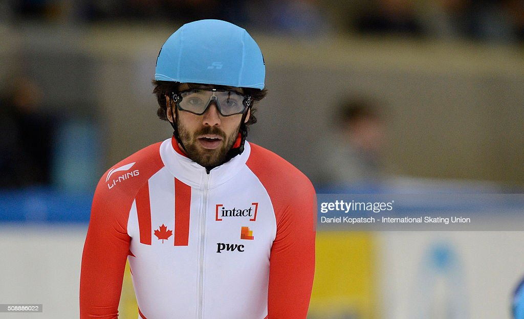 <a gi-track='captionPersonalityLinkClicked' href=/galleries/search?phrase=Charles+Hamelin&family=editorial&specificpeople=820316 ng-click='$event.stopPropagation()'>Charles Hamelin</a> of Canada reacts after the Men 1000 M Quarterfinal during day one of ISU World Cup Short Track Speed Skating during at EnergieVerbund Arena on February 6, 2016 in Dresden, Germany.