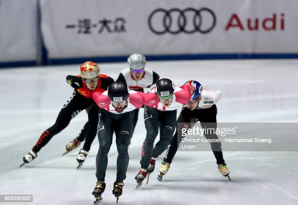 Charles Hamelin of Canada skates in front during the men 1000m semifinal heat two of the Audi ISU World Cup Short Track Speed Skating at Bok Hall on...