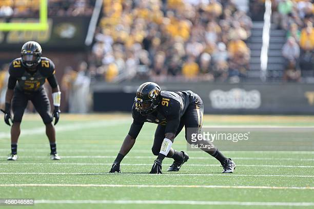 Charles Harris of the Missouri Tigers lines up against the Indiana Hoosiers at Memorial Stadium on September 20 2014 in Columbia Missouri