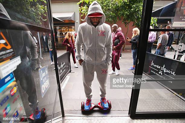 Charles Hatley of the USA arrives on a Segway for the weigh in ahead of tomorrow night's fight against Anthony Mundine of Australia on November 10...