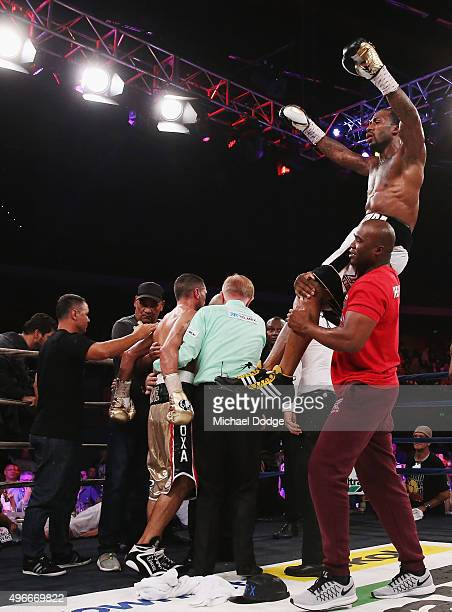 Charles Hatley of the USA celebrates his win against Anthony Mundine of Australia after their bout at The Melbourne Convention and Exhibition Centre...