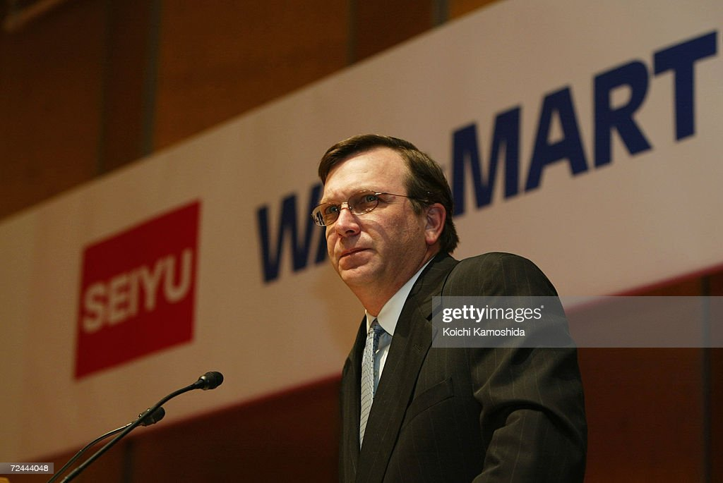 Charles Holley senior vice president and chief financial officer of WalMart Stores Inc speaks during a news conference March 14 2002 in Tokyo Japans...