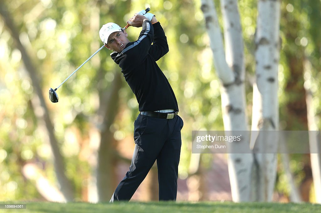 <a gi-track='captionPersonalityLinkClicked' href=/galleries/search?phrase=Charles+Howell+III&family=editorial&specificpeople=212774 ng-click='$event.stopPropagation()'>Charles Howell III</a> hits his tee shot on the second hole during the third round of the Humana Challenge In Partnership With The Clinton Foundation on the Palmer Private Course at PGA West on January 19, 2013 in La Quinta, California.