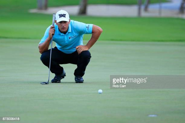Charles Howell III of the United States lines up a putt on the sixth green during the third round of the OHL Classic at Mayakoba on November 11 2017...