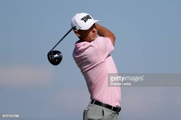 Charles Howell III of the United States plays his tee shot on the seventh hole during the second round of The RSM Classic at Sea Island Golf Club...