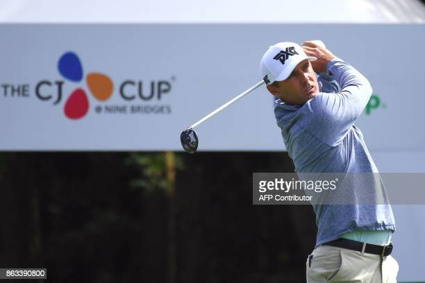 Charles Howell III of the US tees off on the first hole during the second round of the CJ Cup at Nine Bridges in Jeju Island on October 20 2017 / AFP...