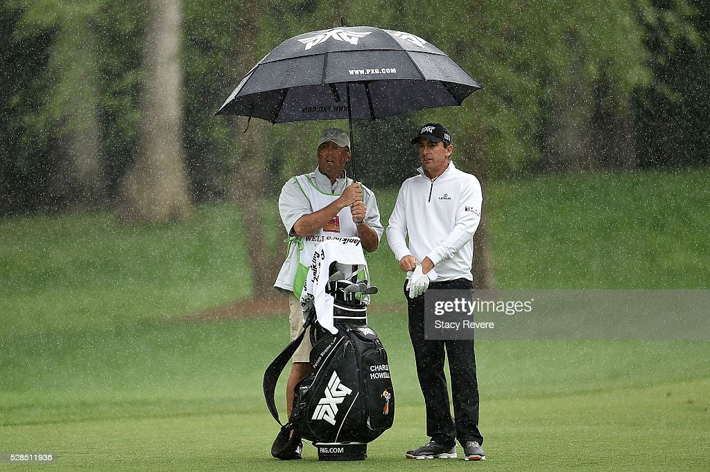 Charles Howell III waits with his caddie in the 12th fairway during the first round of the Wells Fargo Championship at Quail Hollow on May 5, 2016 in Charlotte, North Carolina.