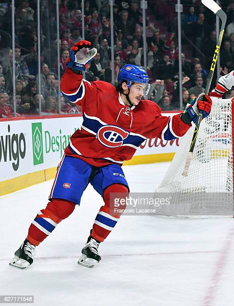 Charles Hudon of the Montreal Canadiens celebrates a goal against the Carolina Hurricanes in the NHL game at the Bell Centre on November 24 2016 in...