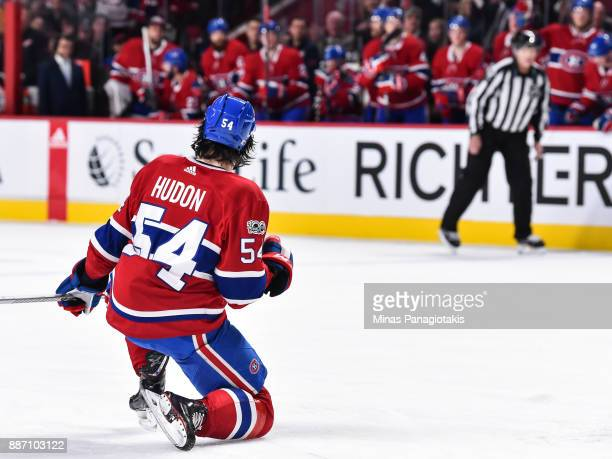 Charles Hudon of the Montreal Canadiens celebrates his goal in the second period against the Detroit Red Wings during the NHL game at the Bell Centre...
