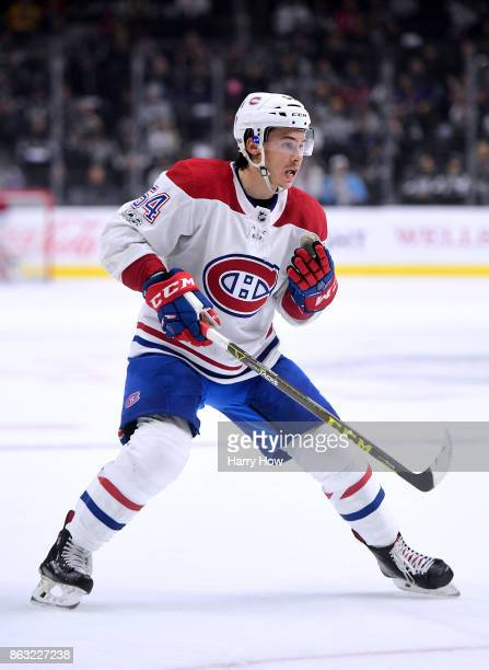 Charles Hudon of the Montreal Canadiens forechecks against the Los Angeles Kings at Staples Center on October 18 2017 in Los Angeles California