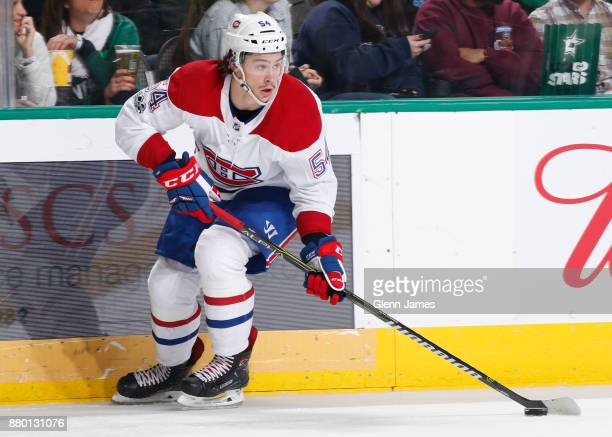Charles Hudon of the Montreal Canadiens handles the puck against the Dallas Stars at the American Airlines Center on November 21 2017 in Dallas Texas
