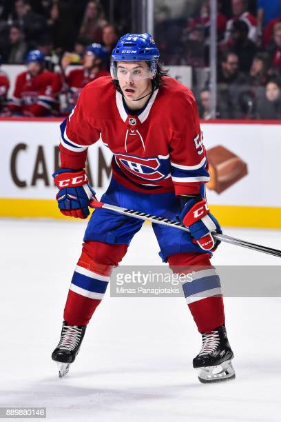 Charles Hudon of the Montreal Canadiens looks on prior to a faceoff against the Calgary Flames during the NHL game at the Bell Centre on December 7...