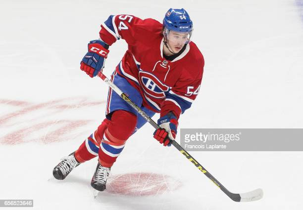 Charles Hudon of the Montreal Canadiens plays in the game against the Minnesota Wild at Bell Centre on March 12 2016 in Montreal Quebec Canada