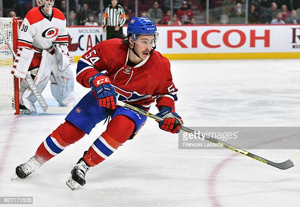 Charles Hudon of the Montreal Canadiens skates against the Carolina Hurricanes in the NHL game at the Bell Centre on November 24 2016 in Montreal...