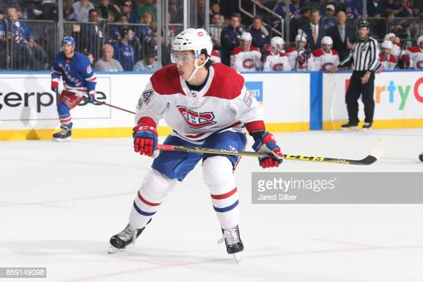 Charles Hudon of the Montreal Canadiens skates against the New York Rangers at Madison Square Garden on October 8 2017 in New York City