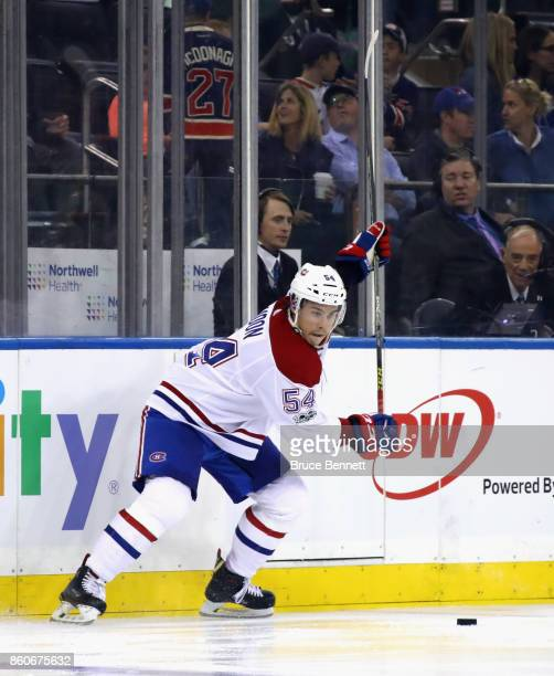 Charles Hudon of the Montreal Canadiens skates against the New York Rangers at Madison Square Garden on October 8 2017 in New York City The Rangers...