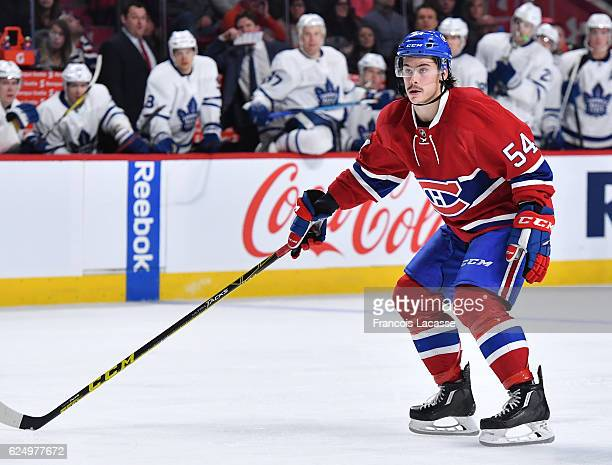 Charles Hudon of the Montreal Canadiens skates against the Toronto Maple Leafs in the NHL game at the Bell Centre on November 19 2016 in Montreal...