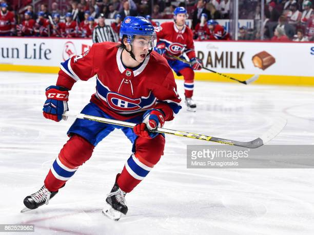 Charles Hudon of the Montreal Canadiens skates against the Toronto Maple Leafs during the NHL game at the Bell Centre on October 14 2017 in Montreal...