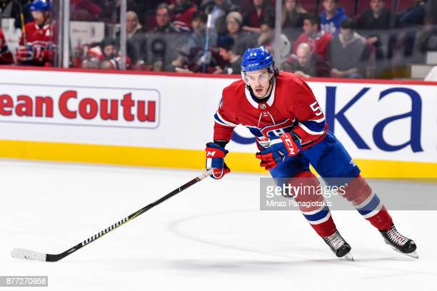 Charles Hudon of the Montreal Canadiens skates against the Toronto Maple Leafs during the NHL game at the Bell Centre on November 18 2017 in Montreal...