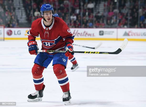 Charles Hudon of the Montreal Canadiens skates againstf the Chicago Blackhawks in the NHL game at the Bell Centre on October 10 2017 in Montreal...