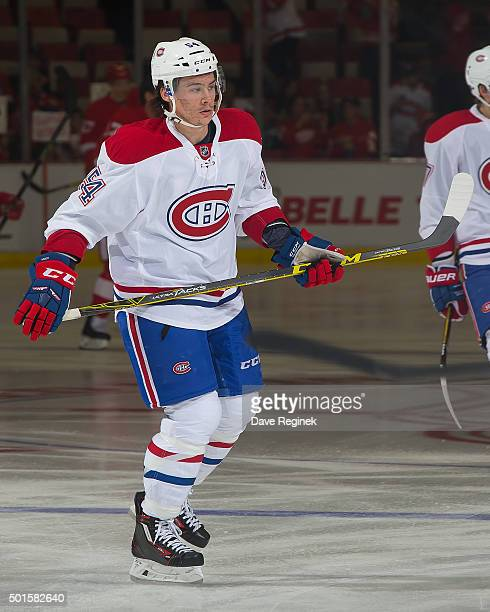 Charles Hudon of the Montreal Canadiens skates in warmups prior to his first NHL game against the Detroit Red Wings at Joe Louis Arena on December 10...