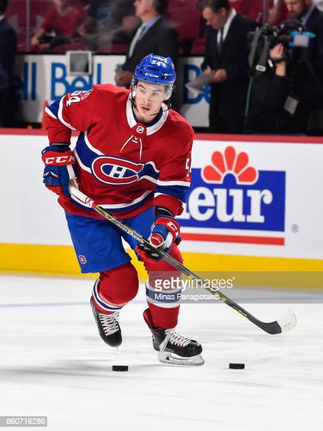 Charles Hudon of the Montreal Canadiens skates the puck in the warmup against the Chicago Blackhawks during the NHL game at the Bell Centre on...
