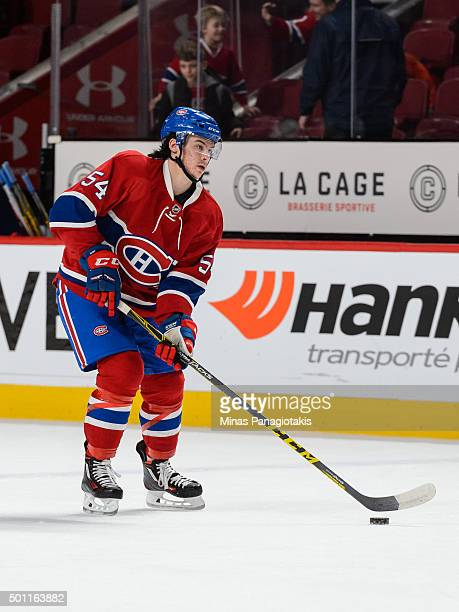 Charles Hudon of the Montreal Canadiens skates with the puck during the warmup prior to the NHL game against the Boston Bruins at the Bell Centre on...