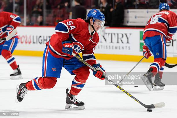 Charles Hudon of the Montreal Canadiens skates with the puck during the warmup period prior to NHL game against the Boston Bruins at the Bell Centre...