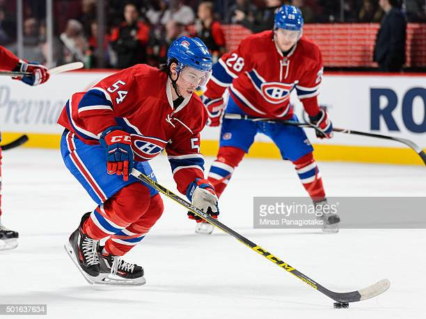Charles Hudon of the Montreal Canadiens skates with the puck during the warmup prior to the NHL game against the Ottawa Senators at the Bell Centre...
