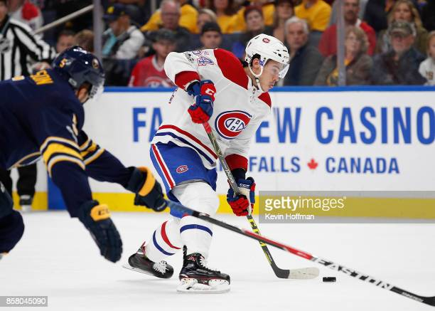 Charles Hudon of the Montreal Canadiens takes a shot during the first period against the Buffalo Sabres at the KeyBank Center on October 5 2017 in...