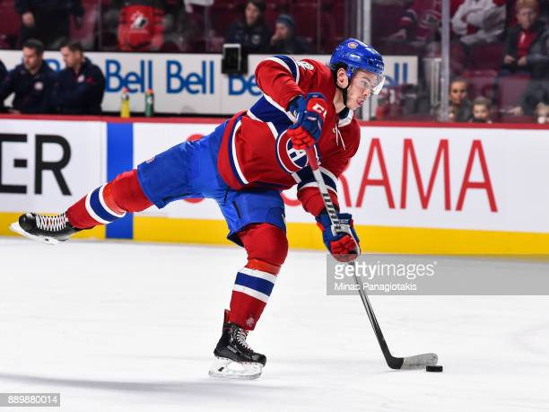 Charles Hudon of the Montreal Canadiens takes a shot during the warmup prior to the NHL game against the Calgary Flames at the Bell Centre on...
