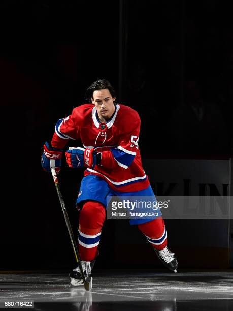 Charles Hudon of the Montreal Canadiens takes to the ice during the pre game ceremony prior to the NHL game against the Chicago Blackhawks at the...