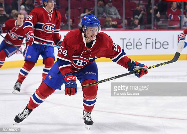 Charles Hudon of the Montreal Canadiens warms up prior to the game against the Ottawa Senators in the NHL game at the Bell Centre on December 12 2015...