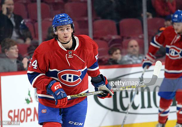 Charles Hudon of the Montreal Canadiens warms up prior to the game against the Boston Bruins in the NHL game at the Bell Centre on December 9 2015 in...