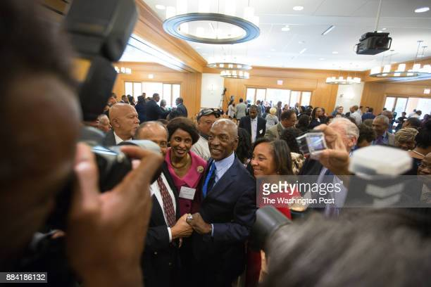 Charles J Ogletree greets guests following a celebratory symposium honoring the Harvard Law professor at Wasserstein Hall on the HLS campus Photo by...