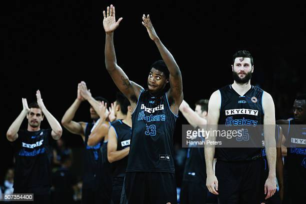 Charles Jackson of the Breakers celebrates after winning the Round 17 NBL match between the New Zealand Breakers and Townsville Crocodiles at Vector...