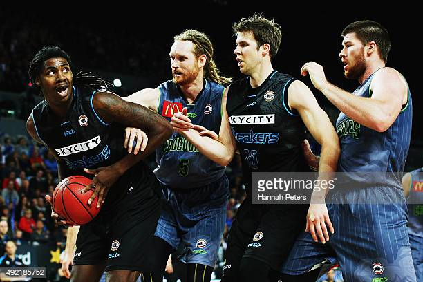 Charles Jackson of the Breakers looks to pass the ball back into court during the round one NBL match between the New Zealand Breakers and the...