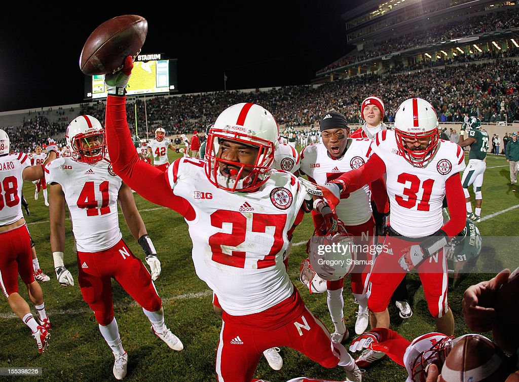 Charles Jackson #27 of the Nebraska Cornhuskers celebrates a 28-24 win over the Michigan State Spartans as time expires in the fourth quarter at Spartan Stadium Stadium on November 3, 2012 in East Lansing, Michigan.