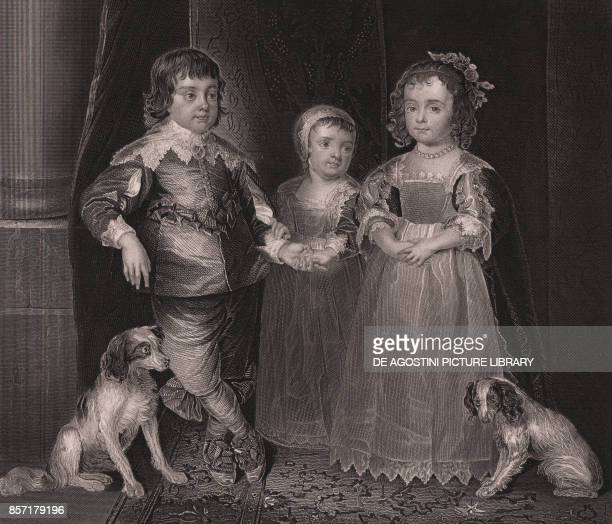 Charles James and Henrietta children of Charles I of England engraving from Payne's Royal Dresden Gallery by Albert Henry Payne A H Payne Dresden...